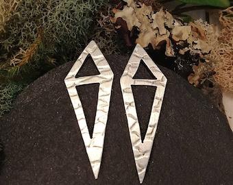 Textured Geometric Silver Earrings, Handmade Gift For Mom, Daughter, Her, Silver Earrings, Silver Drop Studs