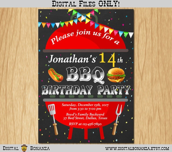 BBQ Birthday Invitation For Kids Barbeque Birthday Party