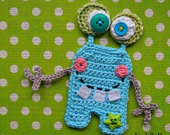 Crochet pattern - Happy Monster appliqué by VendulkaM / DIY, pdf / Ornament/ Appliqué