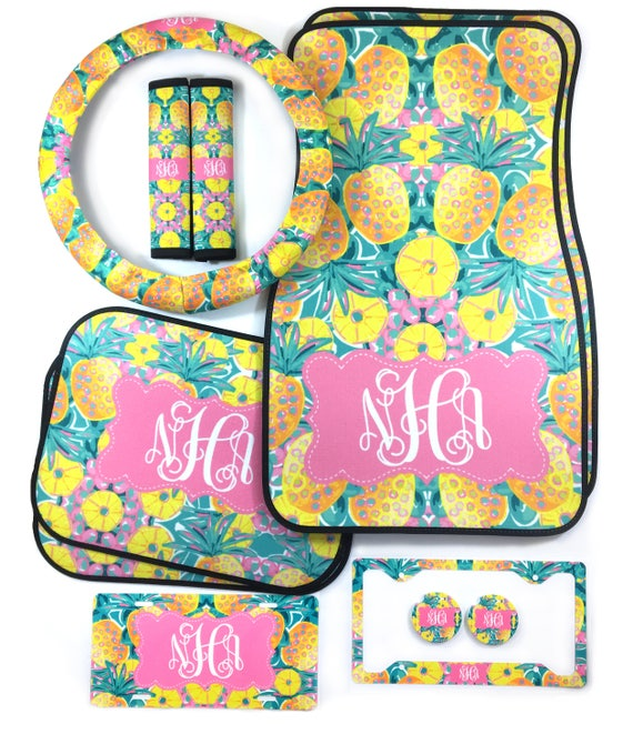 Pineapple Monogrammed Custom Car Accessories Car Floor Mats Steering Wheel Cover & Seat Belt Covers, License Plate and Frame Car Coasters