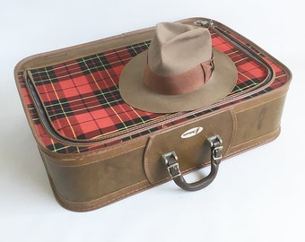 "Mid Century Grasshopper 24"" Tartan Plaid Suitcase - Large Soft-sided Suitcase"