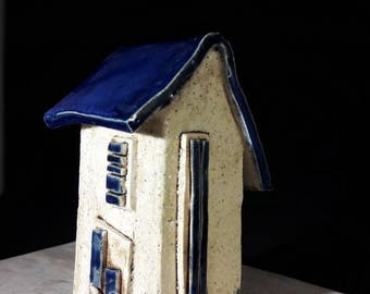 Blue house - one of a kind - unique gift