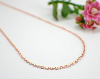 "1.7mm thin copper necklace chain 13 14 15 16 18 20 22 24 26 28 30 32 34 36 inch "" oval cable delicate raw copper necklace finished chain"