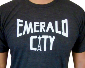 Emerald city mens shirt. Seattle T-shirt. Space needle.