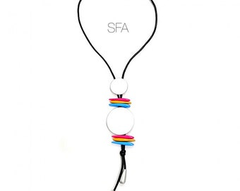 Funky Lagenlook pendant necklace with silver discs and colourful slot beads.