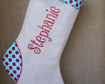 Personalized Christmas Stocking, Christmas Stocking, Linen Christmas Stocking