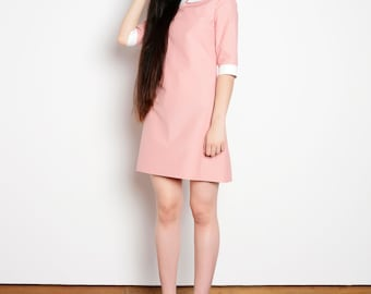 Peter pan collar dress cotton pink white bishop mod 1960s dress stranger things