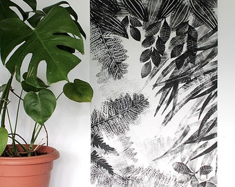 Hand printed black and white wall hanging, Flora I