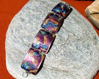 70s enamel link bracelet, handmade - beautiful workmanship