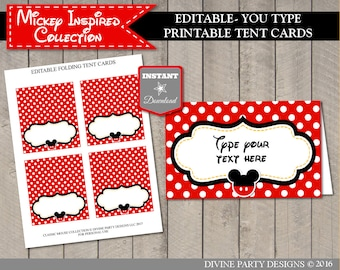 INSTANT DOWNLOAD Editable Mouse Folding Party Food Tent / Place Cards / You Type Text / Classic Mouse Collection / Item #1544