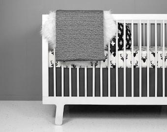 crib bedding |Modern Crib Bedding Set for Baby | Black Deer on Ivory | Modern Woodland nursery | fitted crib sheets | modern baby bedding