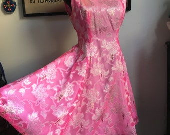 Vintage Party Dress, Pink Jacquard Fit and Flare Dress, Costume Theater Party Piece