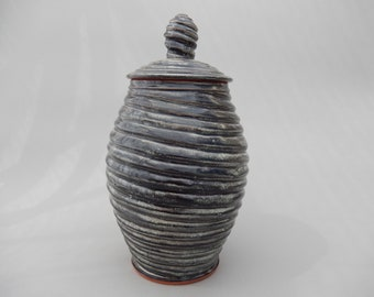 Handmade Carved Pottery Jar, Ceramic Spiral Designed Lidded Jar, Charcoal Gray Pottery Jar