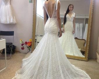lace  wedding dress Inbal, mermaid wedding dress, open back wedding dress