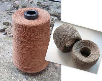 Linen Yarn 3.53 oz (100 g) 1 ply in balls Beige Brown