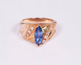 14K Yellow Gold Sapphire and Diamond Ring, size 5.5