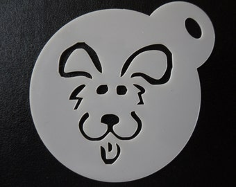 Unique bespoke new laser cut comic dog face cookie / face painting stencil