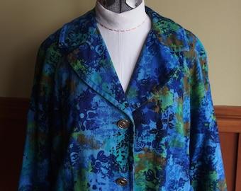 1960s Linen like abstract print Jacket Coat