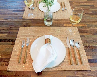 Cork Placemat, Eco Friendly Table Placemat, Wedding Gift Idea, Housewarming Gift Idea, Natural Cork Placemats by Spicer Bags, Made inUSA