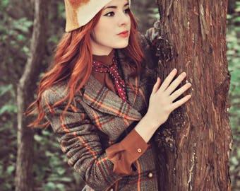 Realistic Fox Felt Hat / Fox Animal Hat with Ears / Woodland Creature Photo Prop / Hand Felt Wool Men's or Women's, Adult or Children