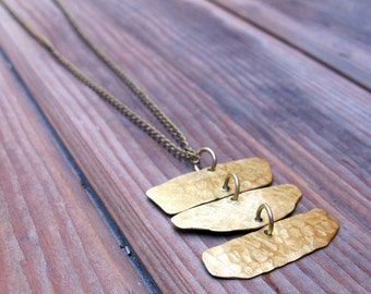 W A N D E R - Long Brass Necklace - Artisan Tangleweeds Jewelry