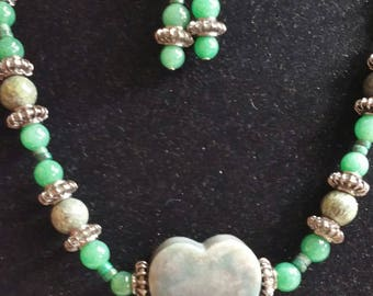 Unique, one-of-a-kind, handmade Moss Agate necklace and earrings