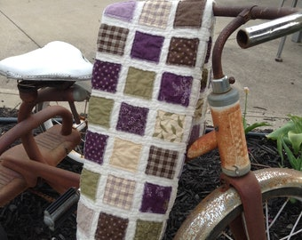 """RAGGY PATCHES TABLERUNNER, Lilac, Green, Brown, Cream, 16.5"""" x 37"""", Scrappy Quilted  Tablerunner, Raggy Edges, Handmade, Ready To Ship"""