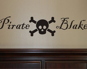 Personalized Pirate Wall Decal - Boys Name Decal - Skull Wall Decal - Pirate Wall Decal - Pirate Skull Wall Decal - Pirate Decal