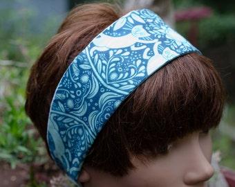 "Kitty Cat Aqua Headband - Reversable Adult/Teen   Measures 2 3/4 ""  (Hair Wrap )( Head Scarf)(HairTie)(Bandana)"