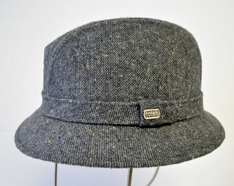 fabulous VINTAGE 1950s TOTES gray and black tweed Fedora hat