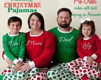 Family Christmas Pajamas, red and white or green and white polka dot christmas pajamas, monogramed pajamas, matching holiday pajamas