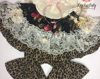 Black roses and animal print dress