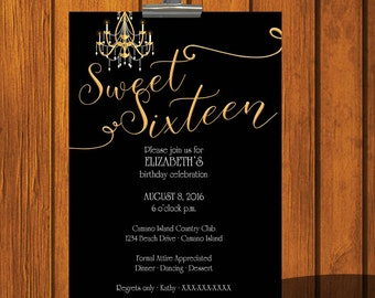 Sweet 16 Birthday Invitation / Young Woman / Digital Download / Birthday Party / Sixteen / Formal / Gold / Invitation / Digital File