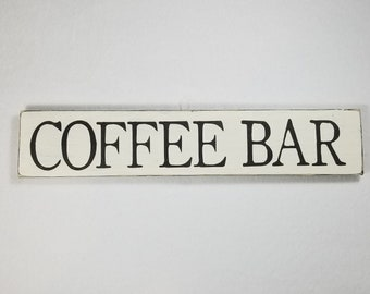 Handpainted Wood Sign, Coffee Bar Typography Word Sign, Painted Sign, Home Decor, Farmhouse Shabby Chic Distressed Stained Sign Art