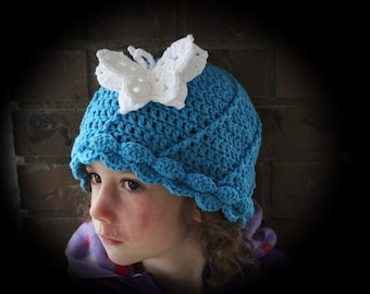 Pretty Twist Hat pdf PATTERN, newborn to adult sizes, beanie, cloche, to crochet for girls or women, digital download