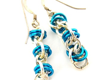 Blue and Silver Chainmaille Earrings, Sterling Jewelry and Fashion Accessory