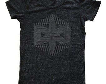 Geometric Womens Triblend Tshirt - Soft Luxury Graphic T Shirt - Womens Tri Blend Dark Gray Made in the USA - Hand Printed Sizes S, M, L, XL