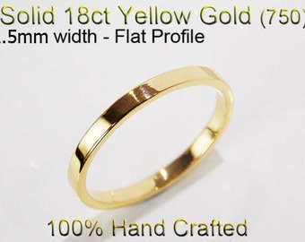 18ct 750 Solid Yellow Gold Ring Wedding Engagement Friendship Friend Flat Band 2.5mm