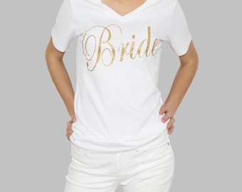 Bride, bride shirt, bridal shower, bridal party, bachelorette, engaged, bride to be, glitter bride, gift for bride, wedding day, bridal gift