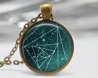 Geometry Pendant, Watercolor Art Pendant, Geometry Necklace, Geometry Art Pendant, Sky Pendant, Bronze Silver, Aqua Geometric Galaxy Art 440