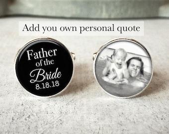 Personnalisé mariage devis boutons de manchette, boutons de manchette pour homme sur mesure, souvenir de jour de mariage, cadeau pour le marié, cadeau de la mariée, cadeau pour papa