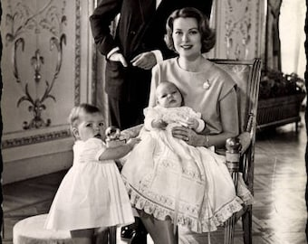 c.1960s Princess GRACE Kelly & Prince Rainier III of Monaco, Prince Albert, Princess Caroline; Postally Used, EXCELLENT Condition.