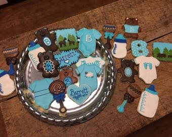 baby boy, bear, hunter, baby shower cookies