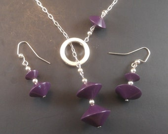 Royal Plum Purple Bicone Lariat Necklace and Earrings Set