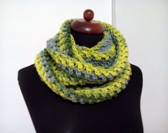 green shades gray crochet scarves, colorful neck warmer, crochet cap, infinity scarves, handmade crochet scarf, double neck handmade crochet
