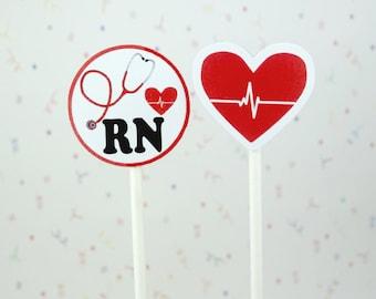 RN cupcake toppers; EKG, Registered nurse,