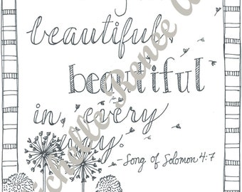 Bible Verse Coloring Page: Song of Solomon 4.7 Digital Instant Download
