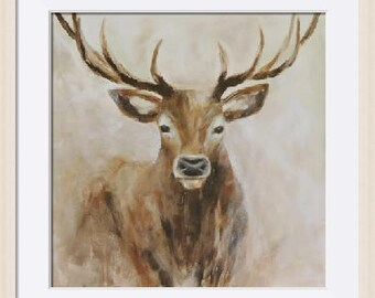 FRAMED Stag Print. Limited Edition Fine Art Giclee Print from Original Painting by Tracey Zorek