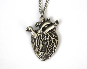 Two for One Sale - Human Heart Necklace .... with a Secret Silver Heart Necklace 015