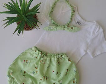 Summer Complete Outfit || Bloomers, Nappy Cover, T-Shirt/Romper and Headband || Newborn to 3 Years